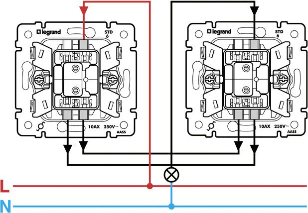 Легранд: управляем лампочкой с 2-х выключателей, с 3-х выключателей и т.д.
