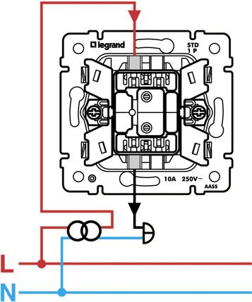 Выключатель кнопочный с подсветкой и поктограммой (с символом лампы) 7743 13 (7744 13) .