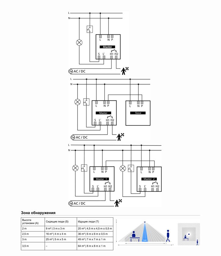 Схема подключения датчика присутствия thePrema 2070506.