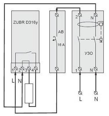Схема подключения с автоматическим выключателем и УЗО.