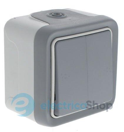 Двухклавишный переключатель на два направления, цвет серый, Legrand Plexo 69715.