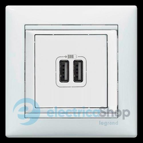 Розетка для зарядки с USB выходом Valena Legrand 770470 белая ... 3368fcc963b